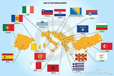 Flags and map of southern Europe countries
