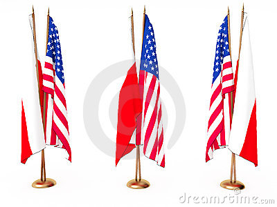 Flags of Poland(Polish) and the United State