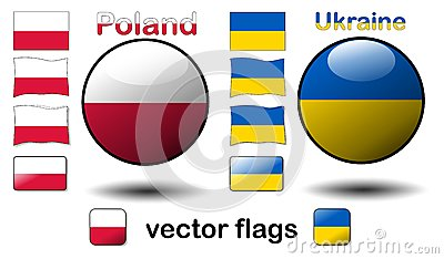 Flags, Poland - Ukraine