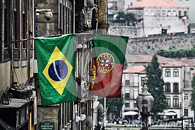 Flags at Porto street, Portugal