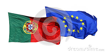 Flags of Portugal and EU, isolated on white