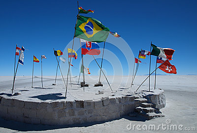 Flags on Salar de Uyuni