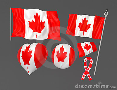 Flags set of Canada national symbolic