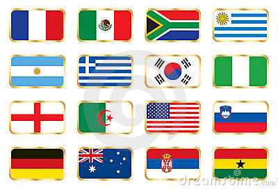 Flags set. Football World cup (groups A B C D)