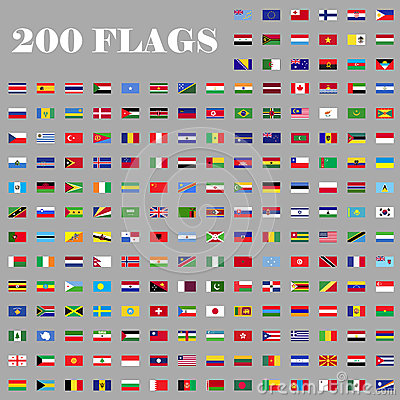 200 Flags Set Of The World Stock Vector Image 75599725