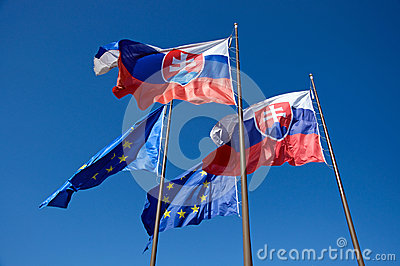 Flags of Slovakia and European Union