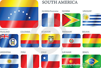 Flags South America - set of buttons