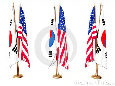 Flags of South Korea and the United State