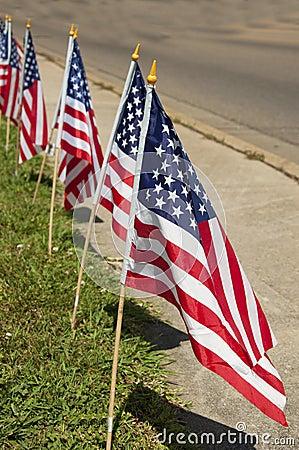 Flags standing along a sidewalk
