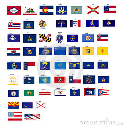 Flags of the states of USA with vector format