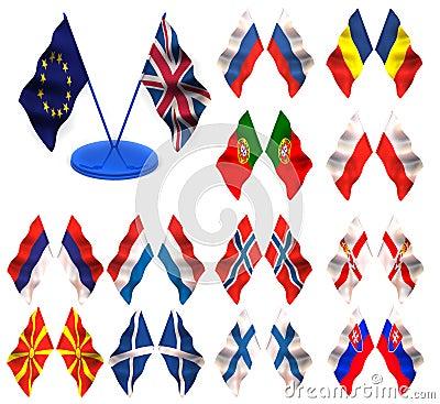 Flags. Sweden, Spain, Yugoslavia, Slovenia, German