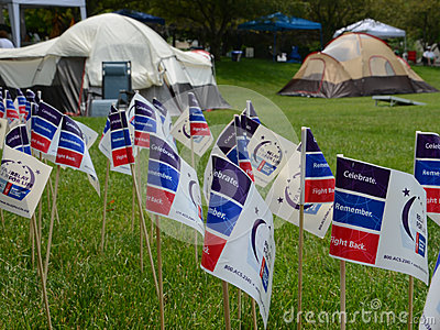 Flags and tents at Relay for Life Ann Arbor event 2013 Editorial Stock Image