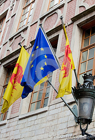 Flags of Wallonia and Europe