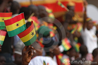 Flags Waving in Ghana Editorial Photo