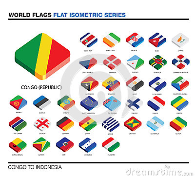 Flags of the world, c-i,  3d isometric flat icon d