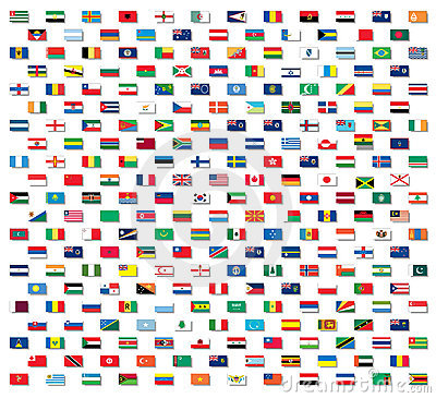 Flags of the world with drop shadows