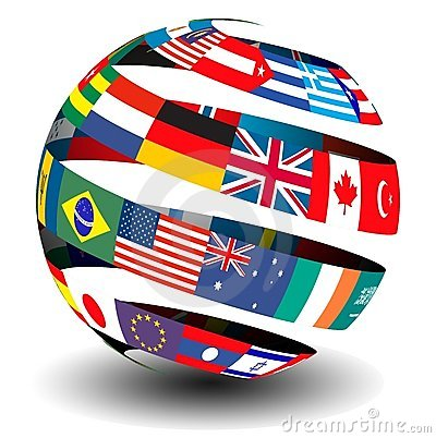 Flags of the world in a globe/sphere