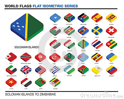 Flags of the world, s-z,  3d isometric flat icon d