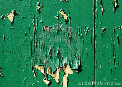 Flaking green paint