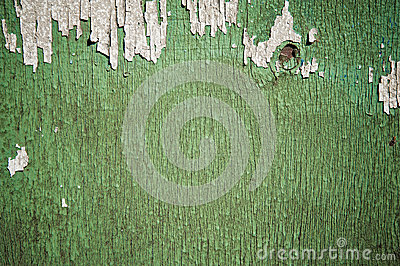 Flaking Green Paint on Faded Wood Background