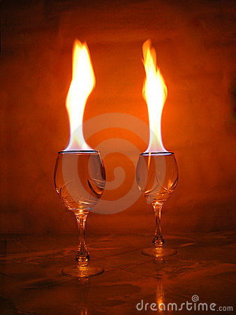 Free Flame Above Glasses. Stock Photo - 316090