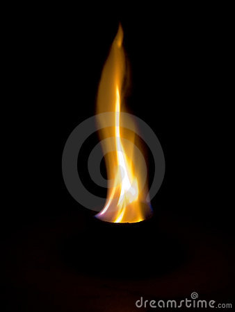Flame in black background