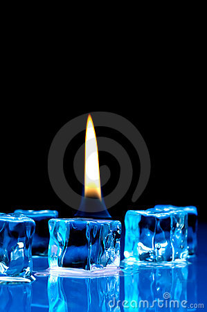 Flame on blue ice cubes