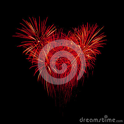 Flame fireworks in heart shape