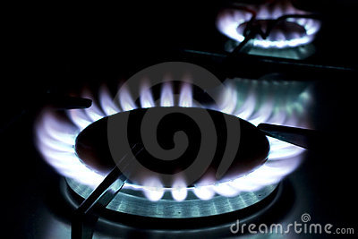 Flame on gas stove