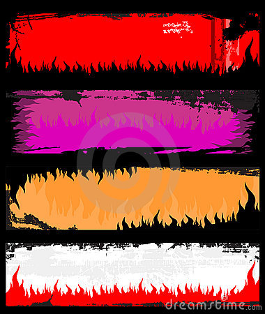 Flame grunge banners