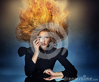 Flame haircut of an attractive lady