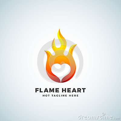Free Flame Heart Abstract Vector Sign, Symbol Or Logo Template. Negative Space Emblem Concept. Royalty Free Stock Image - 92604776