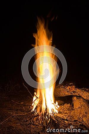 Flame in night