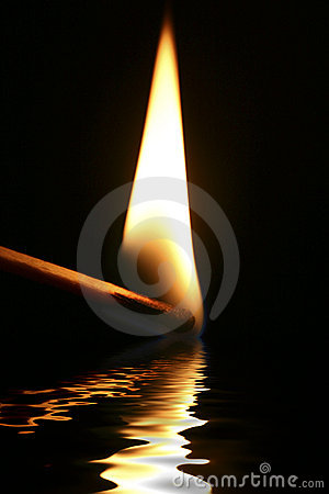 Flame reflection.
