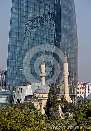 Flame Towers and a mosque in Baku