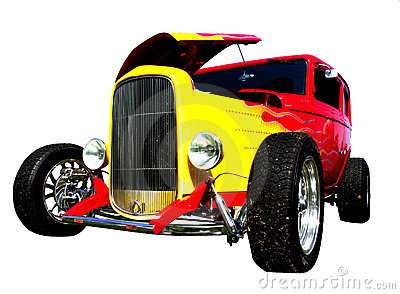Flamed hot-rod with hood open