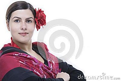 Flamenco dancer closeup portrait with rose