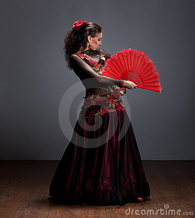 Flamenco dancer in beautiful dress
