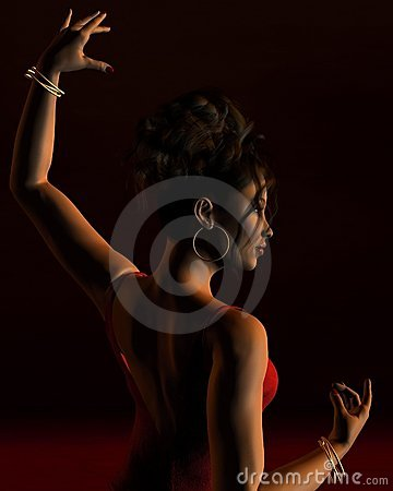Flamenco Dancer on a dark stage