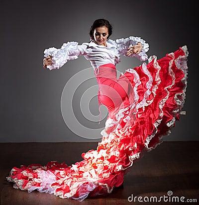Free Flamenco Dancer In Beautiful Dress Stock Images - 19457884