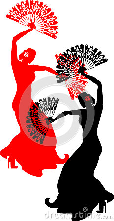 Flamenco dancer with red and black fans