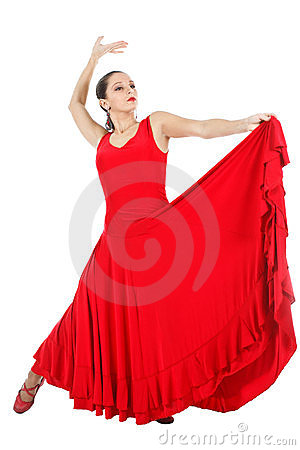 Flamenco Dancer In Red Dress Royalty Free Stock Photography ...