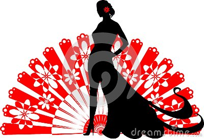 Flamenco dancer on a red fan