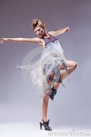 Flamenco dancer in vintage retro dress dancing