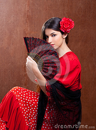 Free Flamenco Dancer Woman Gipsy Red Rose  Spanish Fan Royalty Free Stock Photography - 24314857