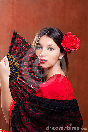 Free Flamenco Dancer Woman Gipsy Red Rose  Spanish Fan Royalty Free Stock Image - 24315426