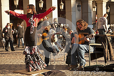 Flamenco group performing on Plaza Mayor Editorial Stock Image