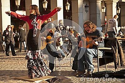 Flamenco group performing on Plaza Mayor Editorial Stock Image