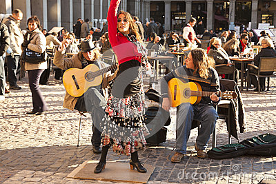 Flamenco group performing on Plaza Mayor Editorial Stock Photo
