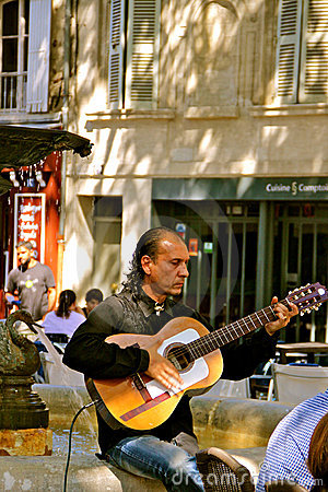 Flamenco Guitar Player, Avignon, France Editorial Image